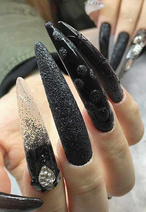 long black nails with texture by nail studio graduate Alejandra Ramazzini
