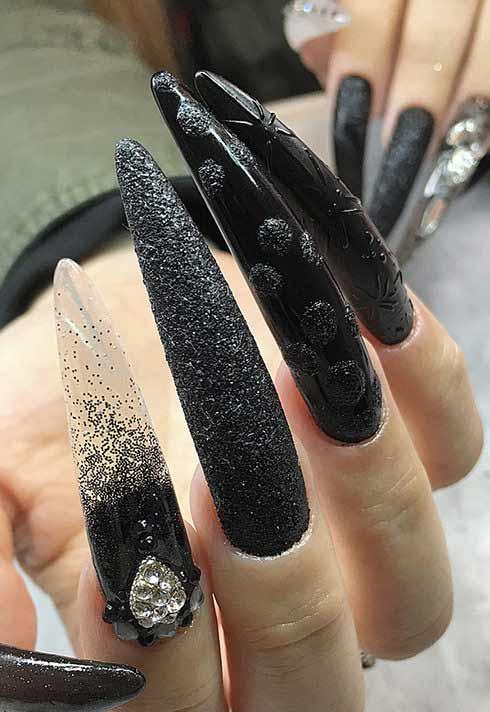 long black nails with texture by nail studio graduate Alejandra Ramazzini