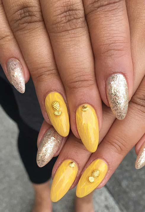 Pineapple nails by Blanche Macdonald Nail Studio graduate Alejandra Ramazzini