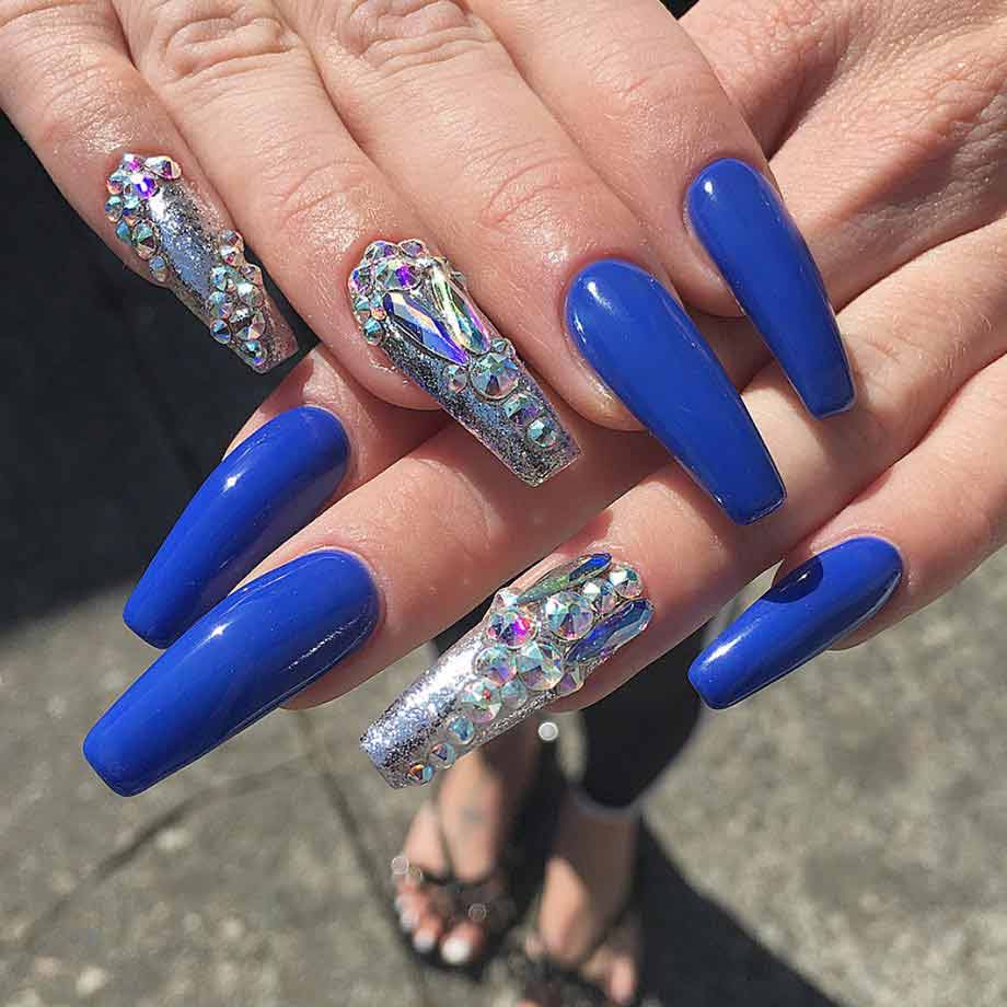 long cobalt and crystal nails by Blanche Macdonald Nail Studio graduate Alejandra Ramazzini