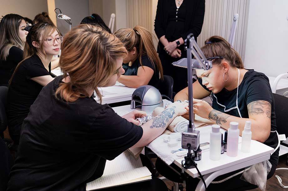 vancouver nail school students practice gel nail application