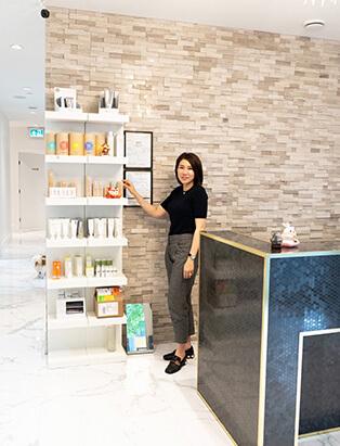 michelle st denis medi spa lobby product shelf
