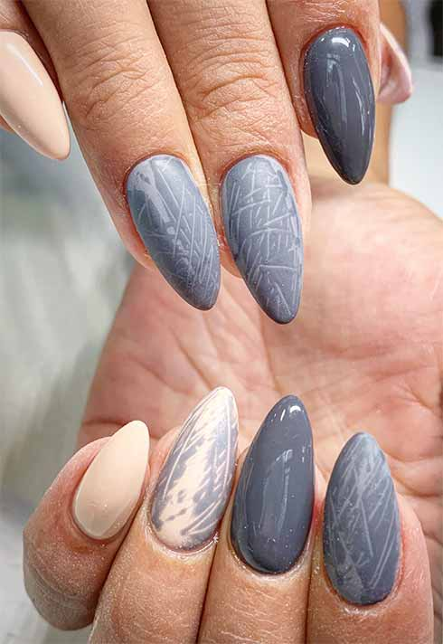 matte gray and ivory nail set