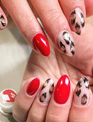 red and leopard print nail art set