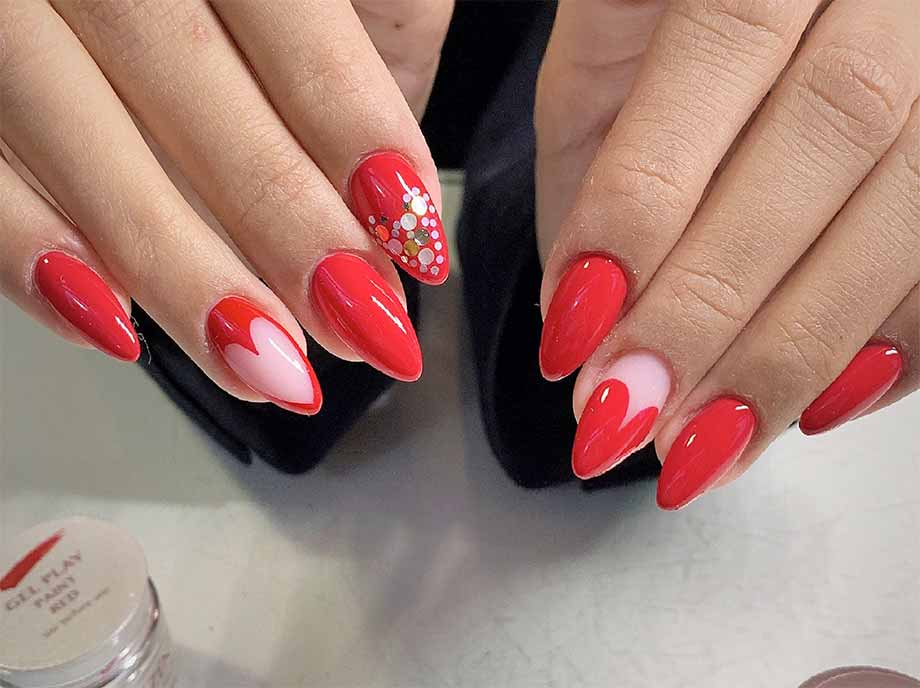 adorable negative space red heart nail set