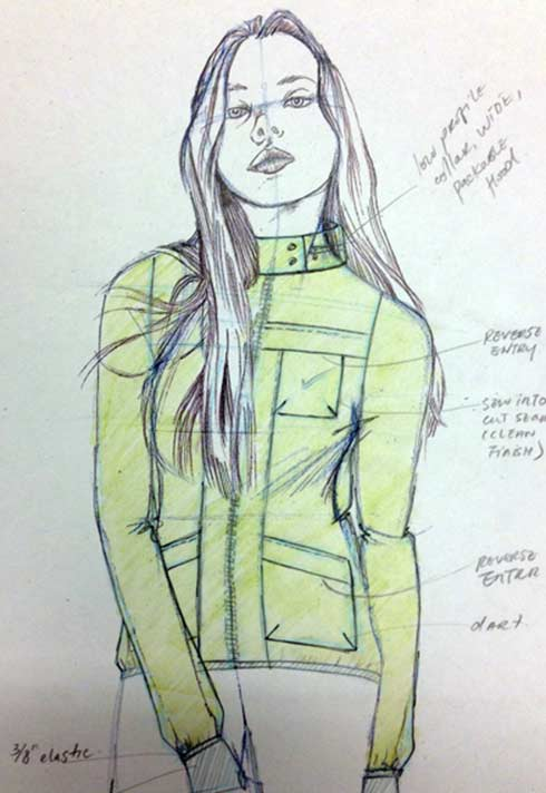 Nike technical womenswear sketch by FD grad Theola wong