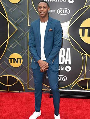 NBA Player RJ Barrett in Chatham Teal Indochino Suit