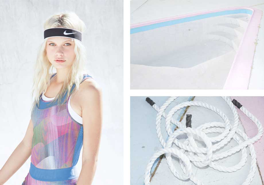 Nike Retro Colour tank top and headband, Art Direction by Theola Wong