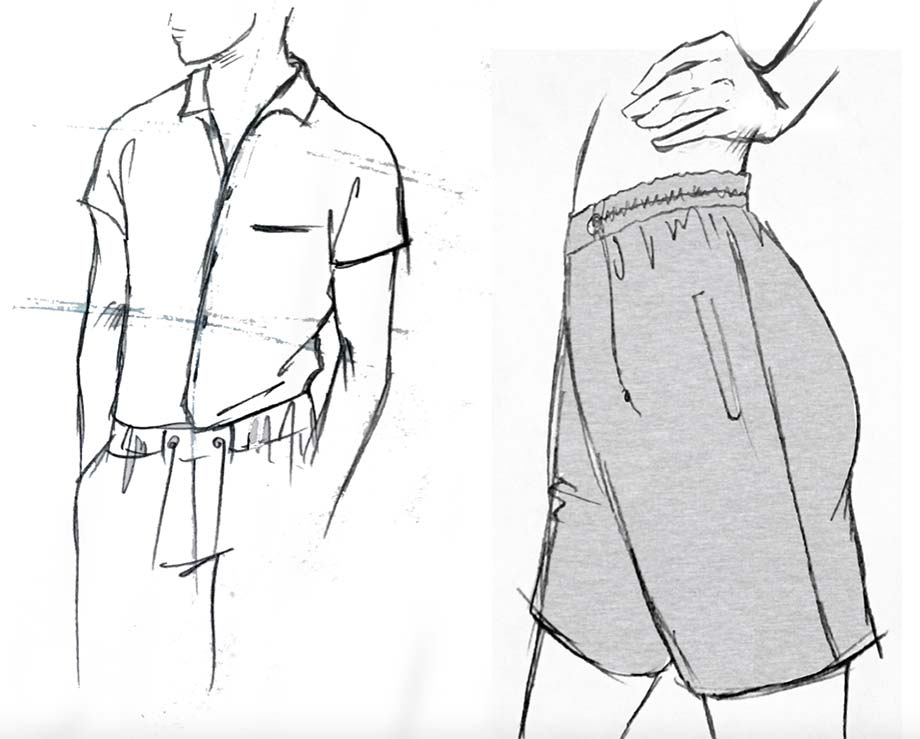 Nike activewear sketch button up top and shorts by Theola Wong