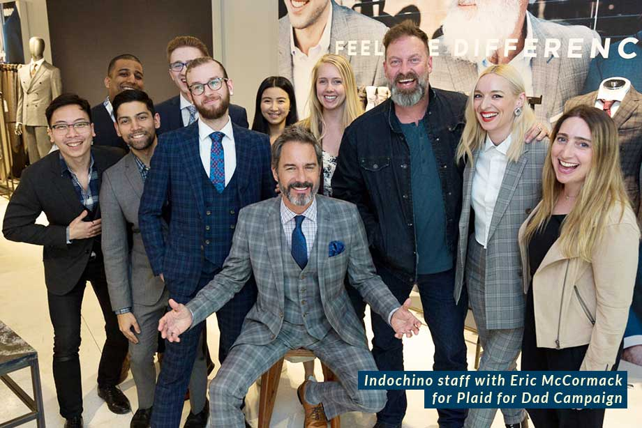 Actor Eric McCormack for Indochino's Plaid for Dad Custom Suit Campaign