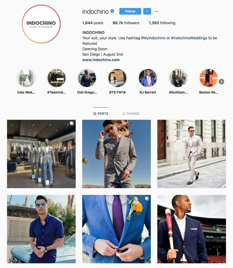 Indochino Official Instagram Page