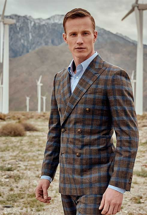 Stylish Brown Checkered Suit by Indochino