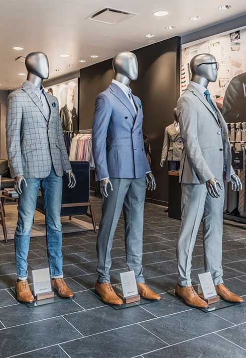 Indochino Made to Measure suit display in store
