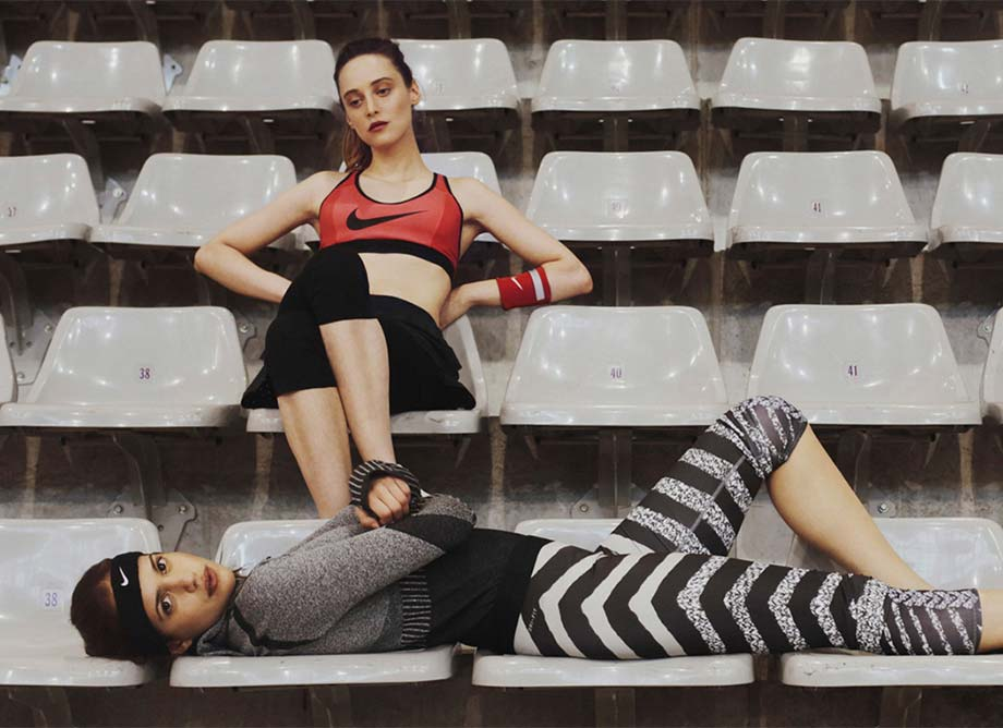 Nike Training Activewear Photo Shoot on Bleachers, Designs by Theola Wong