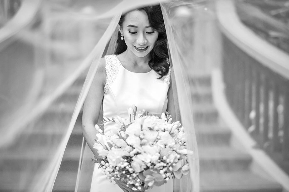 Coco Manzano, Blanche Grad, hairstylist, salon, pro, professional, Vancouver, Blanche MacDonald, hairdresser, stylist, wedding, cuts, styles, hair, veil, dreamy, bride, flowers, classic, curls, side-part