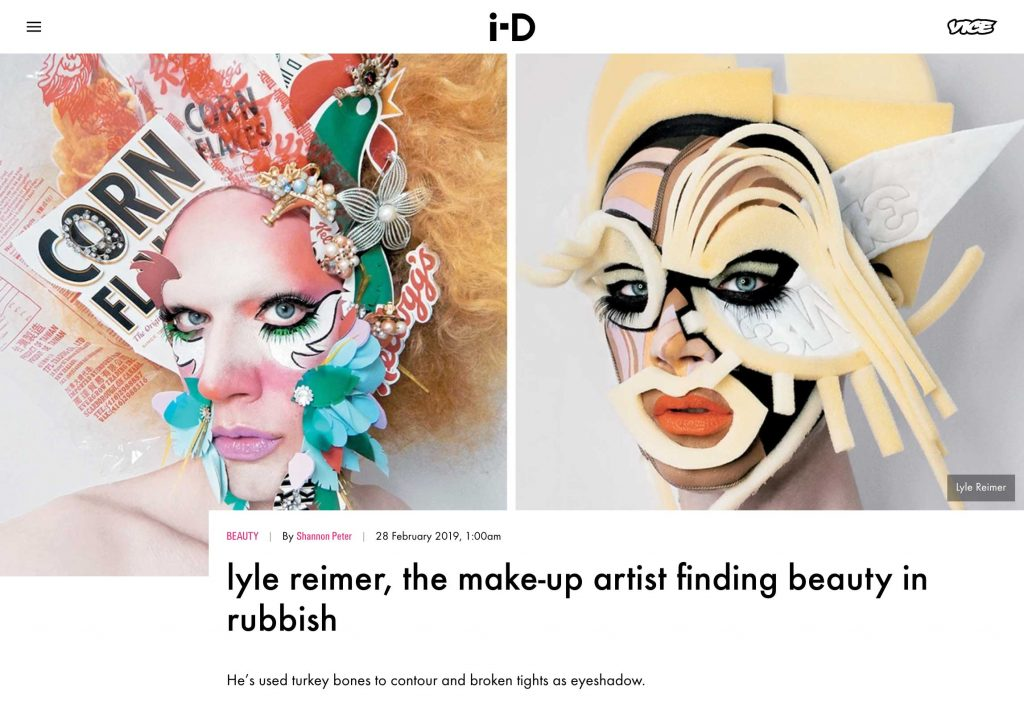 i-D Magazine features Blanche Macdonald Makeup graduate Lyle Reimer