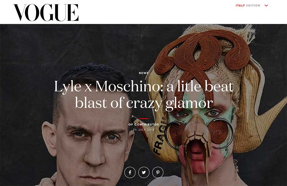 Vogue Italia featured Blanche Macdonald Makeup graduate Lyle Reimer and Jeremy Scott for Lyle x Moschino