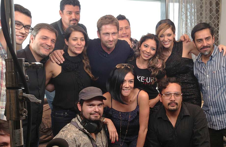 Blanche Macdonald graduate Alejandra Hernandez with Gerard Butler and her film team