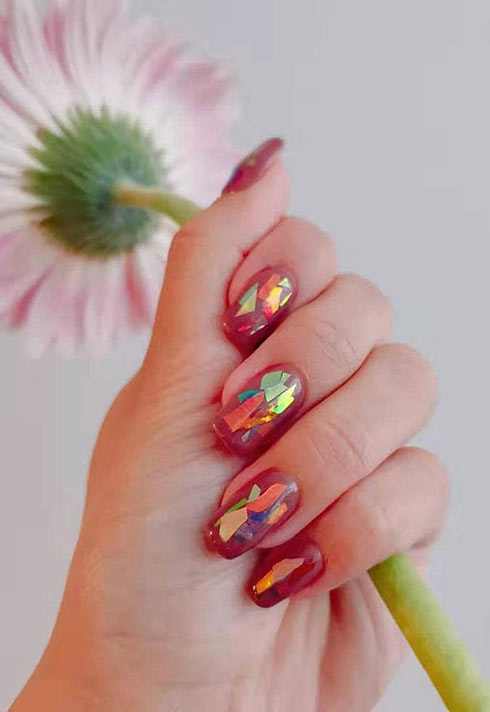 faceted red holographic nails by Jamie Yin Blanche Macdonald nail program Grad and Instructor
