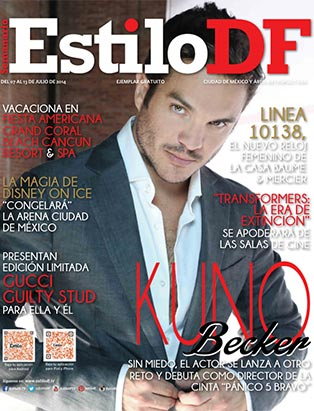 Kuno Becker makeup on cover of EstiloDF magazine by Blanche Macdonald graduate Alejandra Hernandez