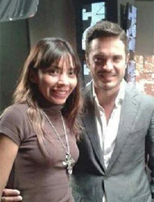 Kuno Becker standing with makeup artist Blanche Macdonald graduate Alejandra Hernandez