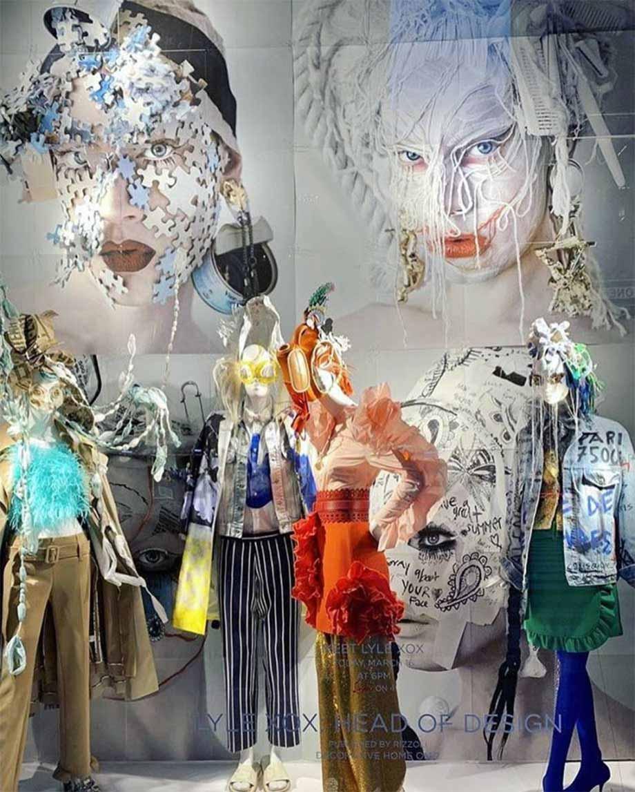 BMC pro makeup program graduate Lyle Reimer's visual display at Bergdorf Goodman