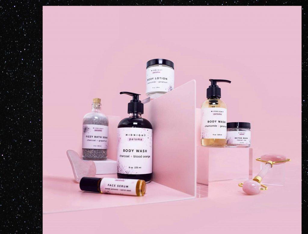 Tayler Rogers aka Midnight Paloma's product range displayed