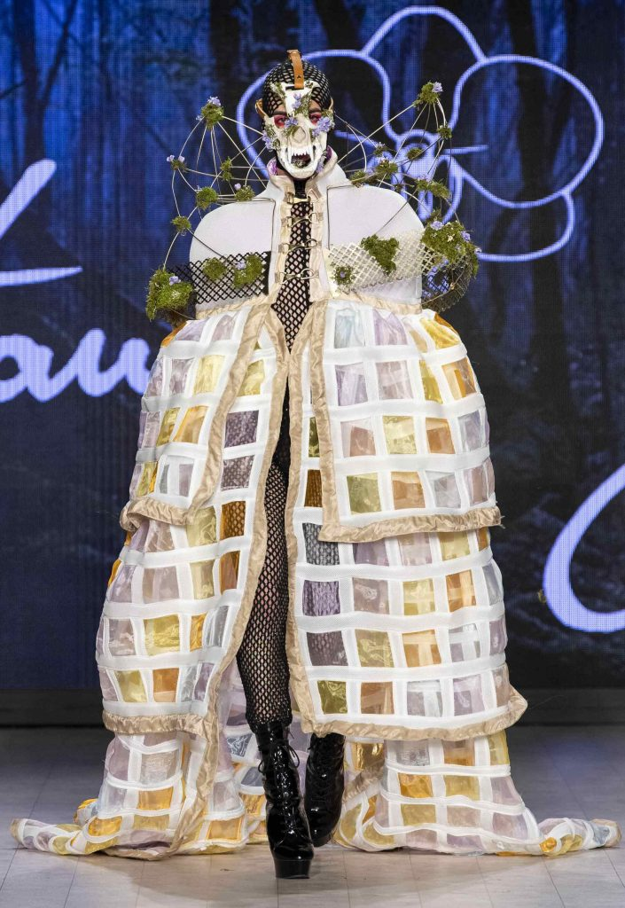 dress cape by Peter Zuk at Vancouver Fashion Week 2019