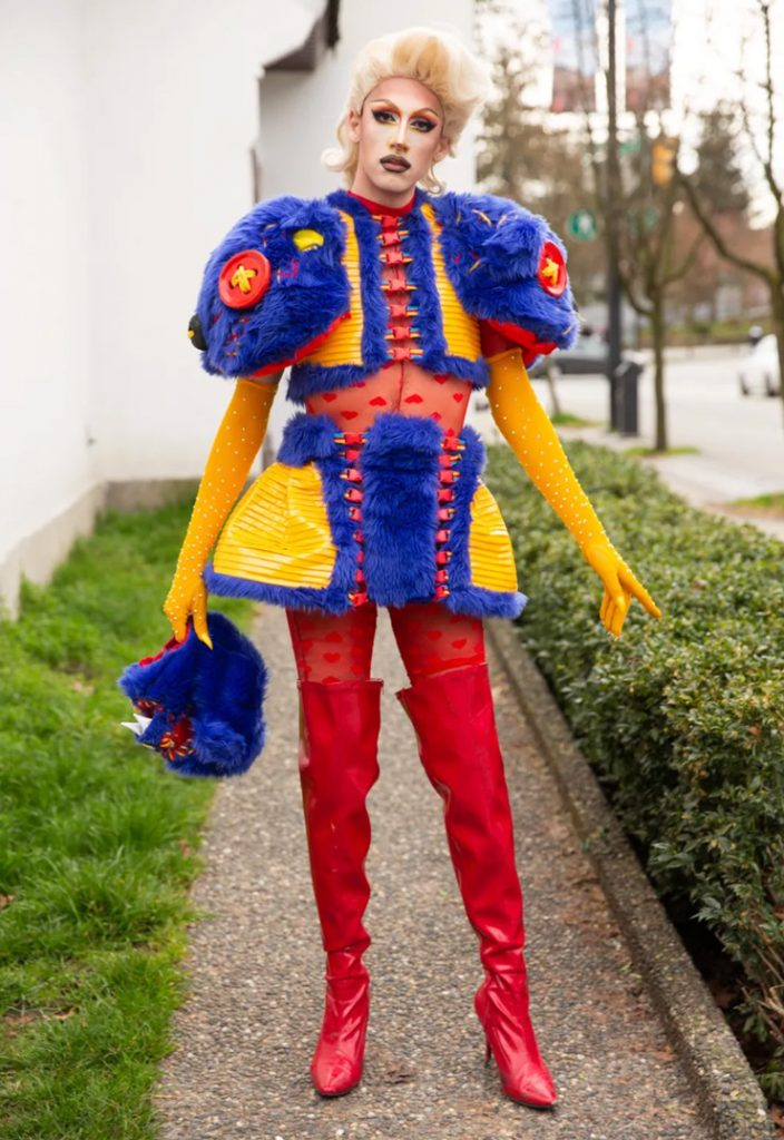 drag queen wearing colourful Peter Zuk clothing in Paper Magazine