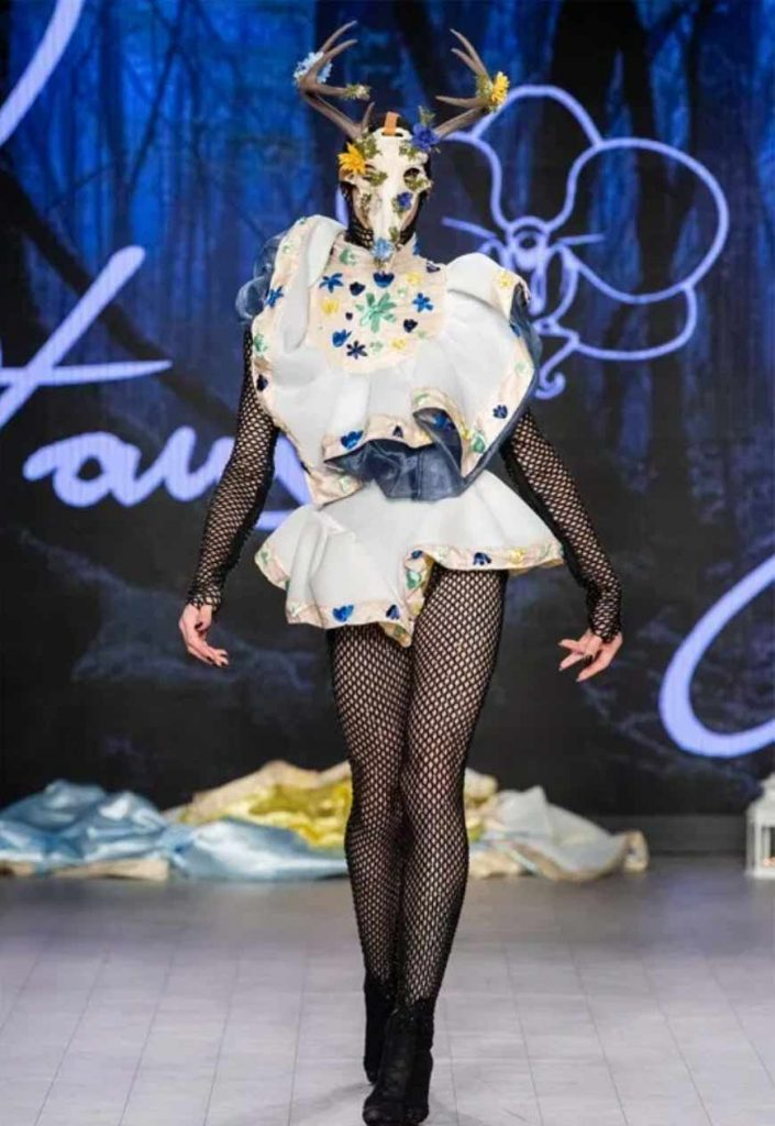 horned runway look from Vancouver Fashion Week by Peter Zuk