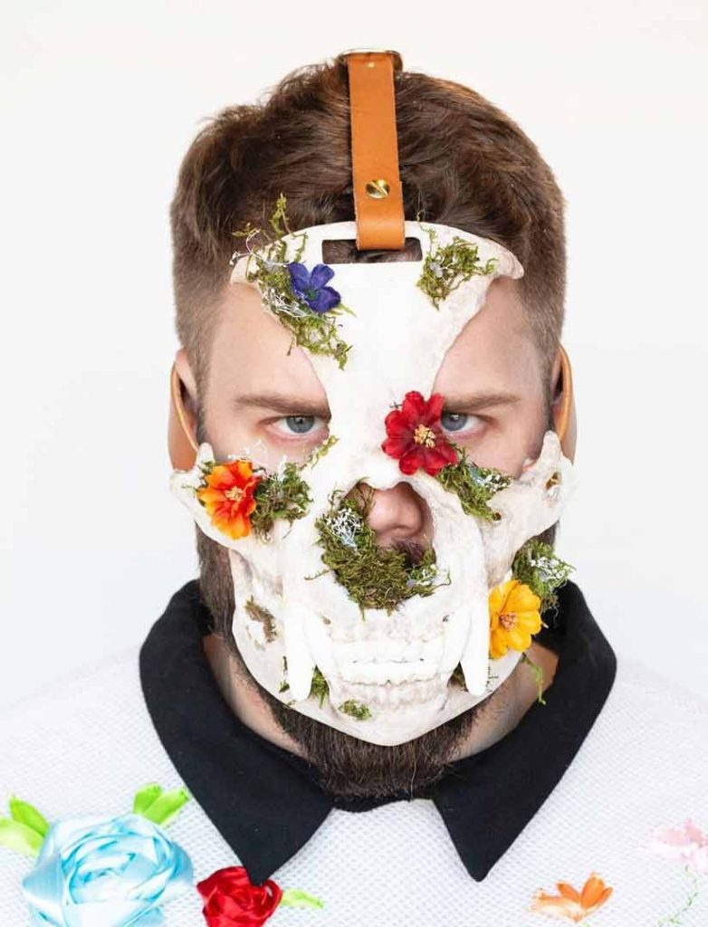 skull mask with flowers by BMC Fashion Design graduate Peter Zuk