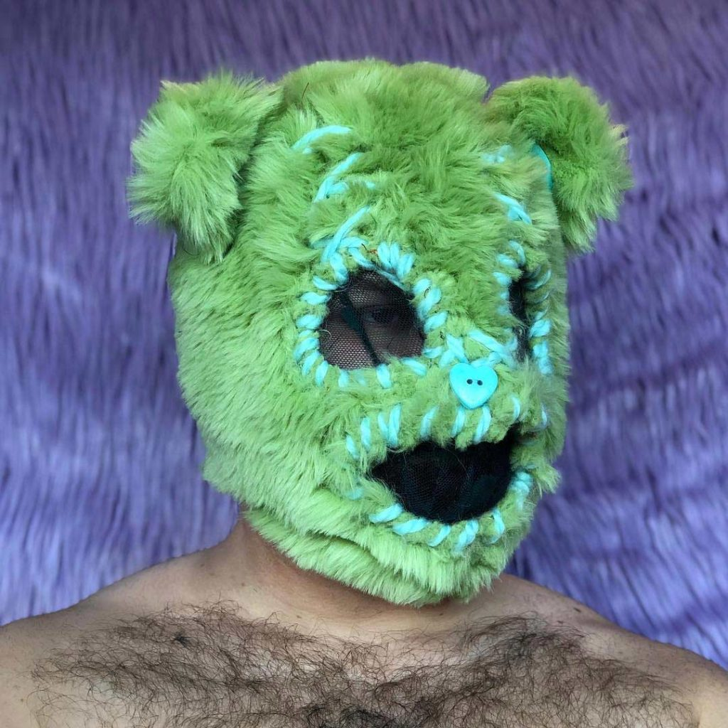 green faux fur bear mask by BMC Fashion Design graduate Peter Zuk