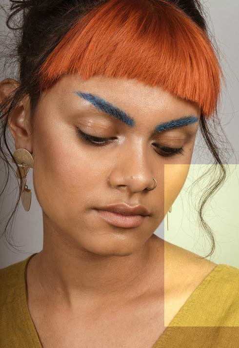 blue eyebrow makeup look by BMC Pro Makeup Graduates The Artistry Collective