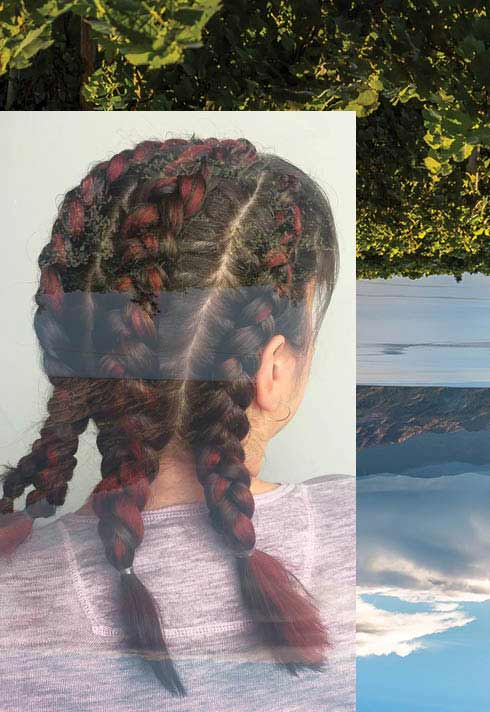 BMC pro hair graduate Camille Petit braided hair with red highlights Kelowna
