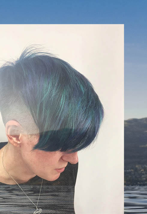 Camille Petit BMC pro hair graduate green and blue short hair