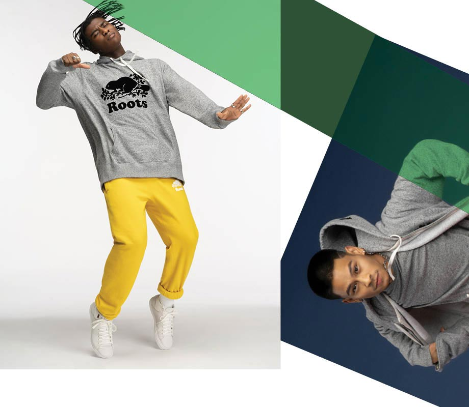 Blanche Macdonald graduate Myla Davey's branding for Roots Canada male models dancing in sweats