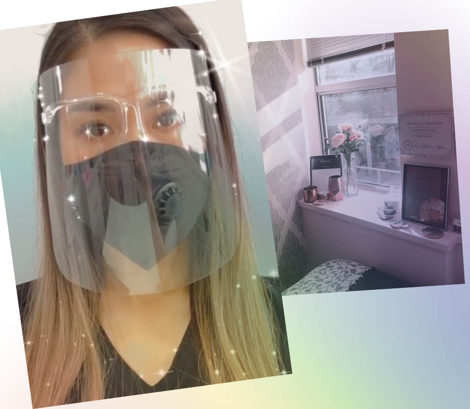 beauty boutique owner and BMC grad Catherine Tsang wearing protective face shield and pic of her salon
