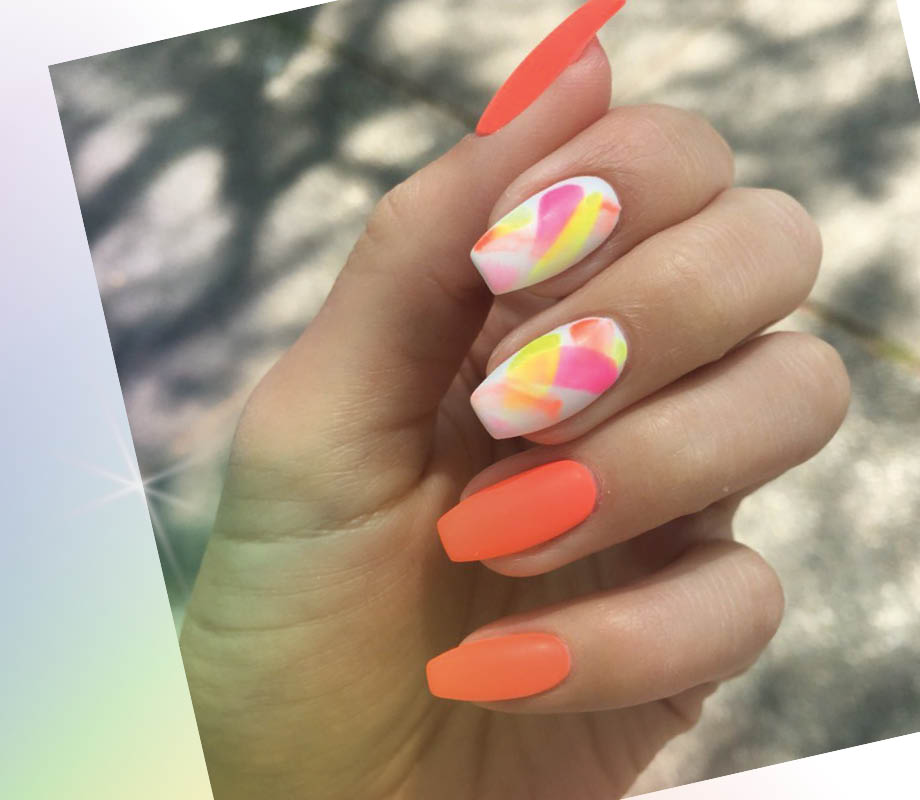 beauty boutique owner and BMC grad Catherine Tsang neon-themed manicure