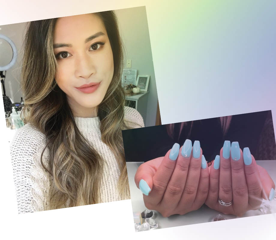 Catherine Tsang blue nails beauty boutique owner BMC grad