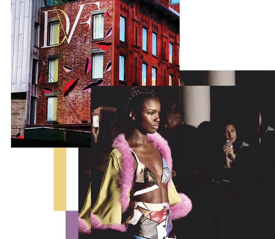 model walking and Dianne von Furstenberg mural