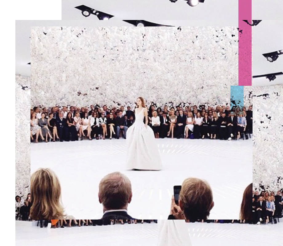 extravagant runway show in all white