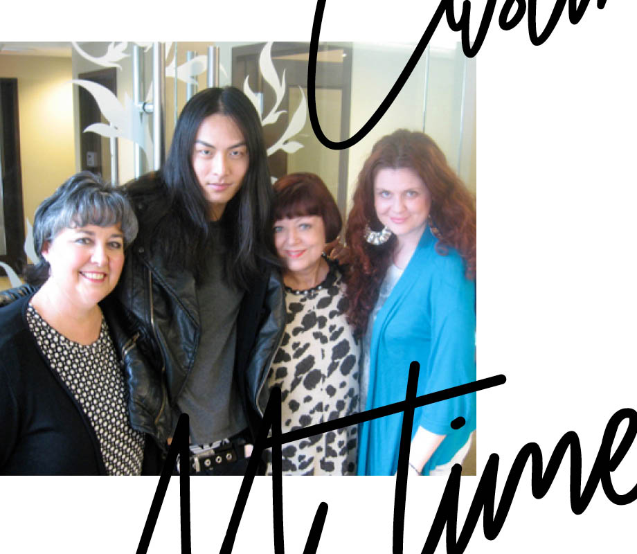 fashion merchandising and supermodel grad David Chiang posing with BMC instructors Peggy Morrison, Donna Baldock and Fashion Career Director Mel Watts