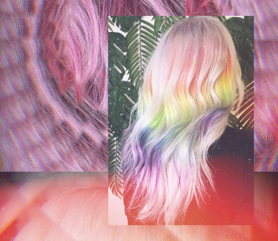 rainbow flowing dyed locks by Nessa Pineda Blanche Macdonald Pro Hair Graduate