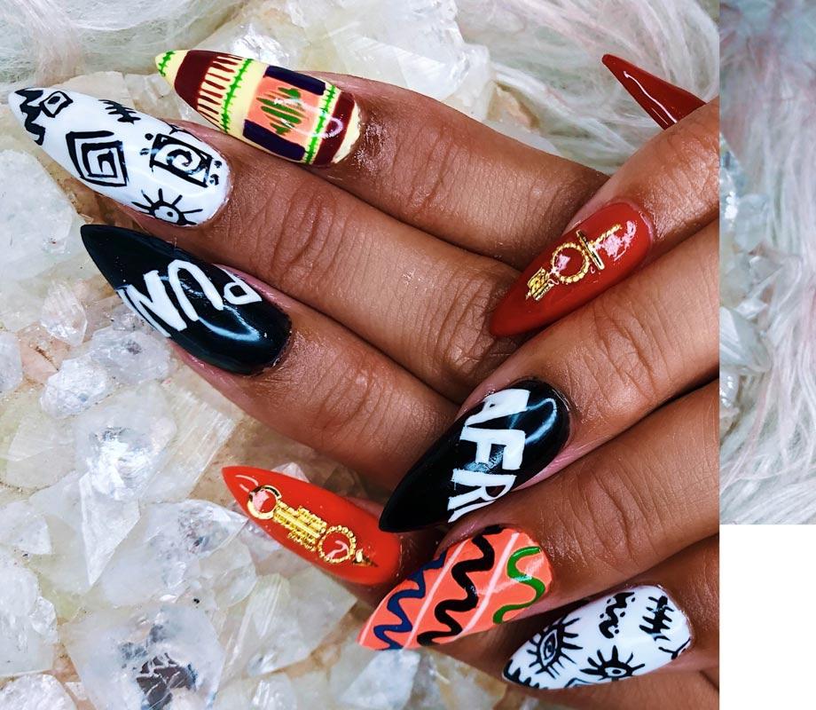 BMC graduate Tatiana Tavares' African-inspired nails