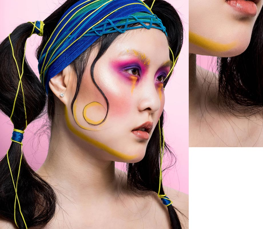 BMC graduate Tatiana Tavares' neon makeup for an editorial