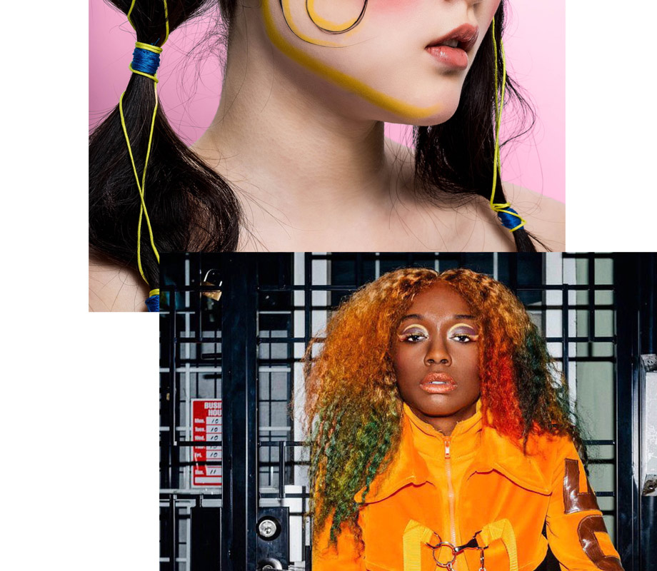 BMC graduate Tatiana Tavares' citrus makeup design for a 70s-themed editorial