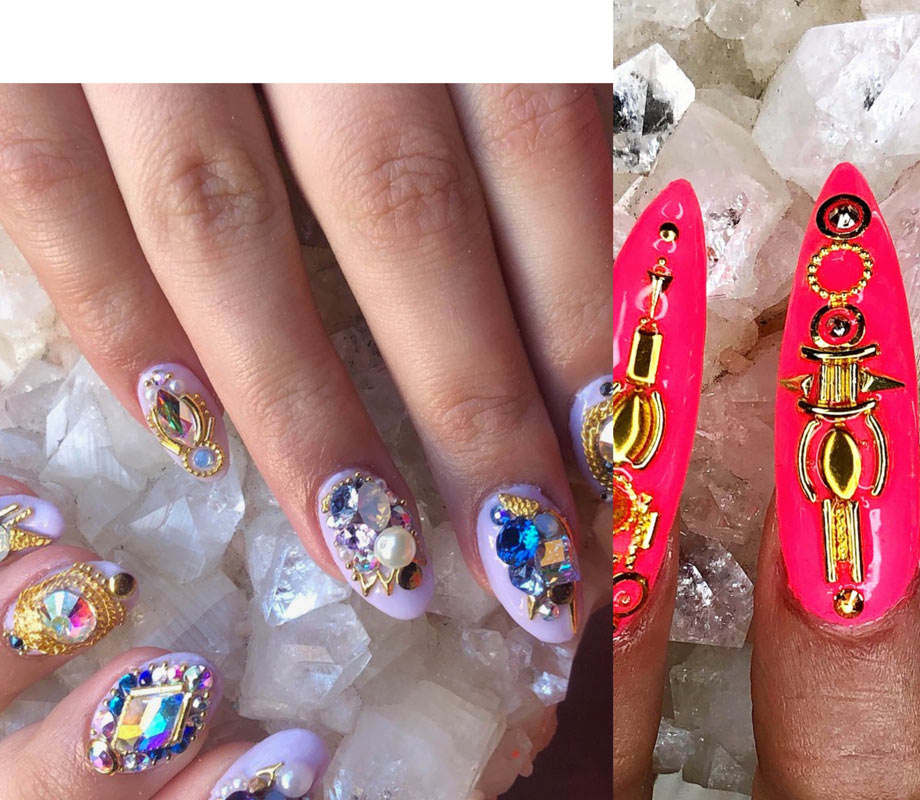 BMC graduate Tatiana Tavares' light purple jeweled nails