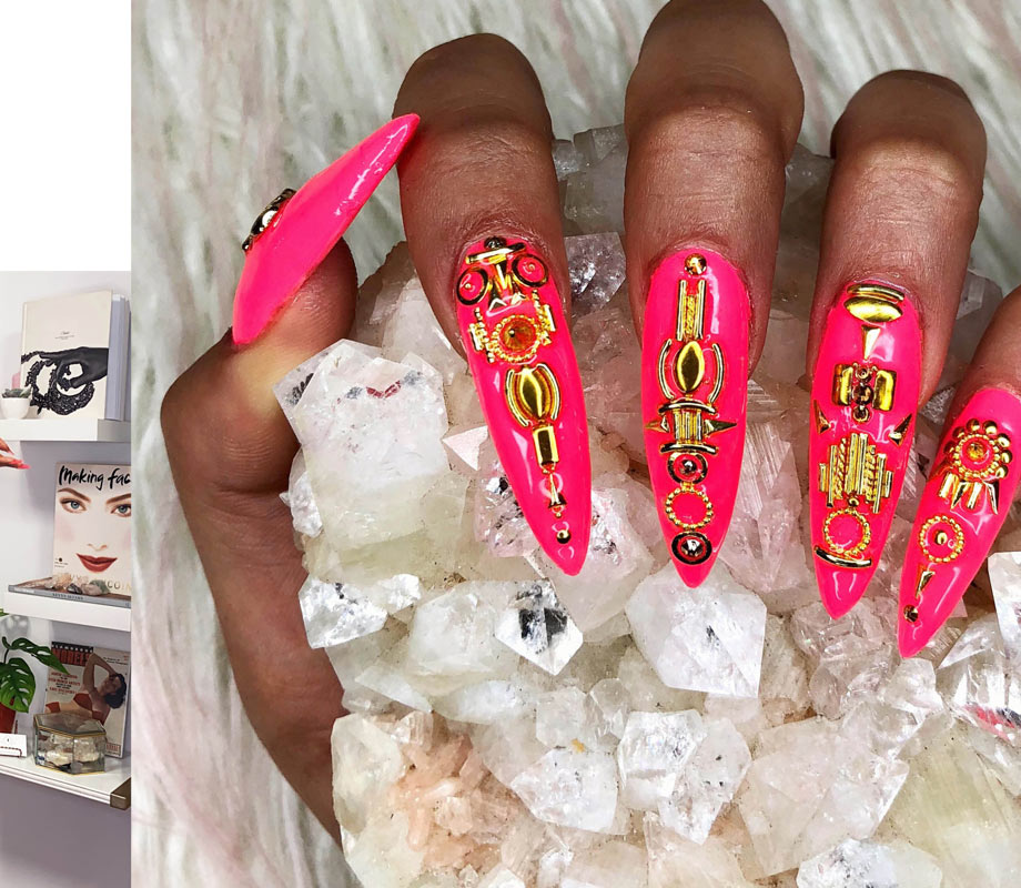 BMC graduate Tatiana Tavares' neon pink and metallic jewels nails