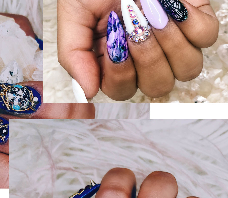 BMC graduate Tatiana Tavares' 90s purple and pastel nails