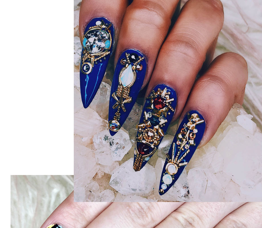 BMC graduate Tatiana Tavares' royal blue nails